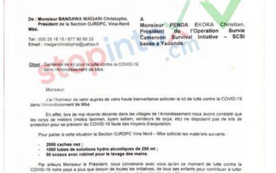 Oui, le président de la section ojrdpc Vina-Nord Mbe a écrit à Penda Ekoka pour demander des kits pour la lutte contre la covid-19