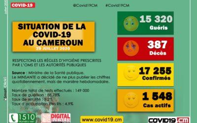 Point sur l'évolution de la Covid-19 au Cameroun au 29 juillet 2020